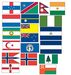 Set of 19 flags countries started with N and O vector
