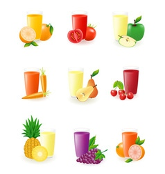set of icons with fruit juice vector image