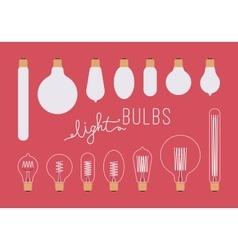 Set of retro light bulbs aganst crimson background vector