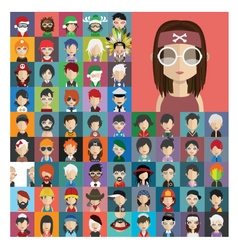 set people icons in flat style with faces 23 a vector image