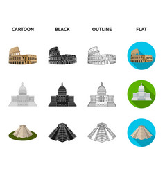 sights of different countries cartoonblack vector image