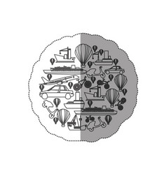sticker contour circular pattern formed by means vector image