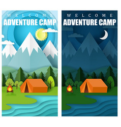summer camping paper cut banner set vector image