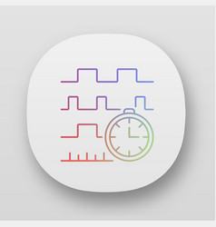 Timing diagram app icon signals set in time vector