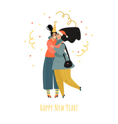 two cute girls are celebrating new year vector image