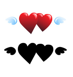 two hearts and wings vector image