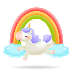 Unicorn with rainbow little pony vector