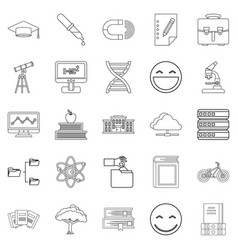 University icons set outline style vector