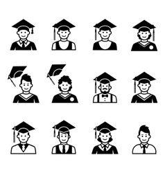 University students graduation avatar vector