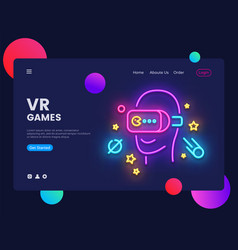 vr games website concept banner design vector image