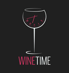 Wine glass logo wine time concept with clock on vector