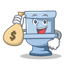 With money bag toilet character cartoon style vector