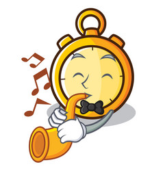 With trumpet chronometer character cartoon style vector