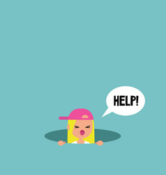 Young blond girl calling for help in the pit vector