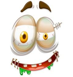 Zombie style facial emojicon vector
