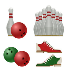 Accessories for bowling play balls pins or vector