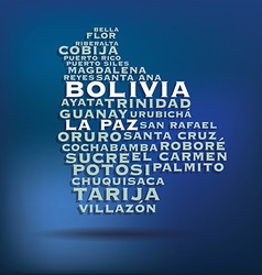 Bolivia map made with name of cities vector image