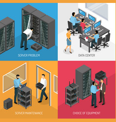 datacenter 2x2 isometric design concept vector image vector image