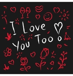 I love you too hand drawn vector image