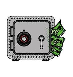 metal strong box with bills in the door vector image
