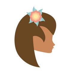 Profile woman flower romantic image vector