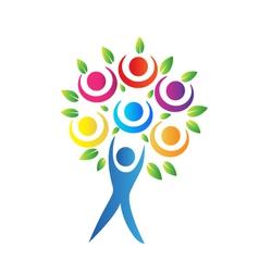 Tree teamwork logo vector image vector image