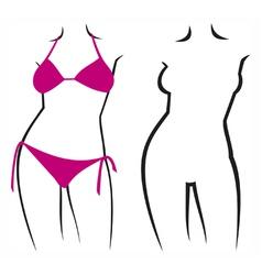 woman in bikini and woman silhouette vector image