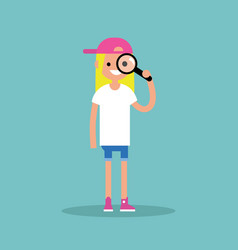 young blond girl looking through the magnifying vector image vector image