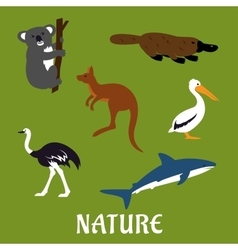 Australian animals and birds flat icons vector image