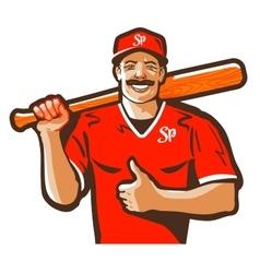 baseball logo player or sport icon vector image