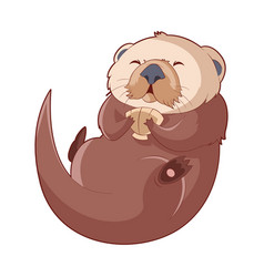 cartoon smiling otter vector image