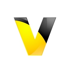 Creative yellow and black symbol letter V for your vector image vector image
