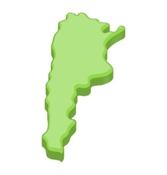Green map of Argentina icon cartoon style vector image