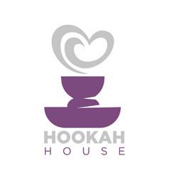 hookah house emblem with shisha bowl and smoke vector image vector image