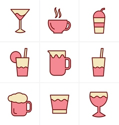 Icons Style Drink Icons Set Design vector image