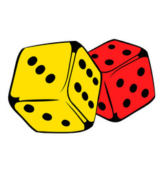 red and yellow dice icon icon cartoon vector image