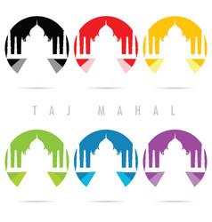 taj mahal icon set in color art vector image vector image