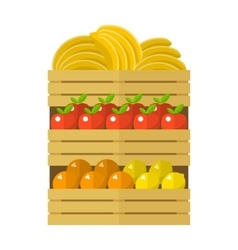 Wooden box with fruits vector image vector image