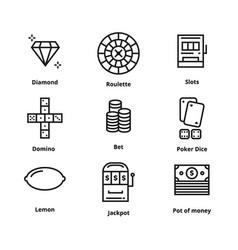 9 gamble line icon vector image vector image