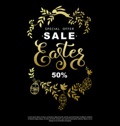 easter sale flyer with wreath golden leaves and vector image