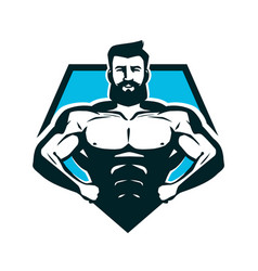 gym bodybuilding logo or label strong man with vector image vector image