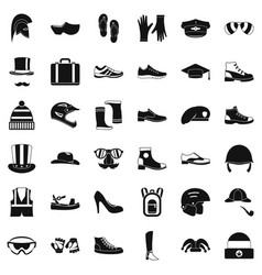 season accessories icons set simple style vector image