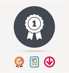 winner medal icon award emblem sign vector image vector image
