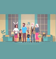 big family celebrate happy easter holding basket vector image