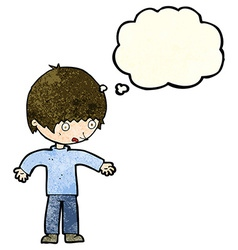 cartoon confused boy with thought bubble vector image