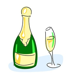 Champagne bottle glass vector image vector image
