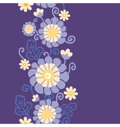 Purple flowers and leaves vertical seamless vector image vector image