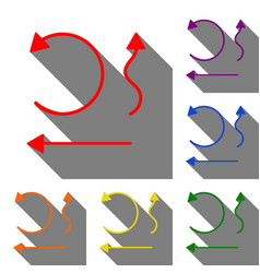 simple set to interface arrows set of red orange vector image