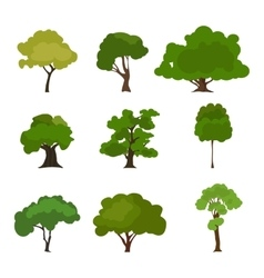 Tree icon set Rree silhouette forest leaf tree vector image vector image