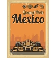 Vintage poster Grand Prix Mexico vector image